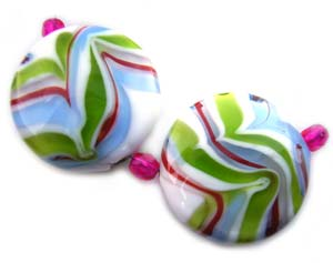 Cool and Groovy Set of 5 Artisan Glass Lampwork Beads ~ Ian Williams