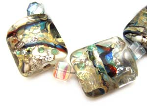 SOLD - Artisan Glass Lampwork Beads ~ Turkish Bizarre ~ Encased Sleek Pillows Set