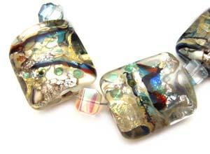 SOLD - Artisan Glass Lampwork Beads ~ Turkish Bizarre ~ Encased Sleek Pillows Set