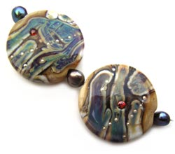 Raku River Set (chunky lentils) Ian Williams Artisan Glass Lampwork Beads