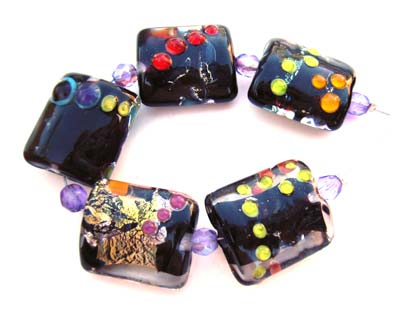 Sold - Artisan Glass Lampwork Beads ~ Nightime Show ~ Ian Williams