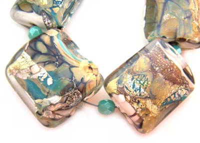 SOLD - Artisan Glass Lampwork Beads ~ Neptune's Palace ~ Encased Sleek Pillows Set