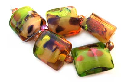SOLD - Amber Forest Set Artisan Glass Lampwork Beads ~ Ian Williams