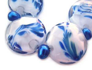 Willow China Set Artisan Glass Lampwork Beads  ~ Ian Williams