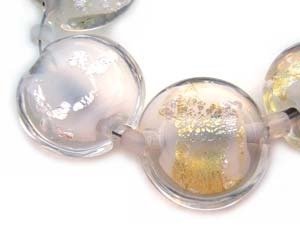 Sold - Artisan Glass Lampwork Beads ~ White with Foil ~ Encased Lentil Set ~ Ian Williams