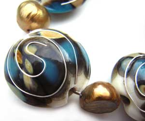SOLD - Artisan Glass Lampwork Beads ~ Druid's Silver Set