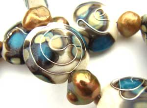 SOLD - Artisan Glass Lampwork Beads ~ Silver Calligriph Set
