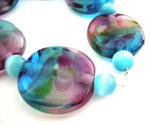 SOLD - Artisan Glass Lampwork Beads ~ Monet's Waterlily Garden ~ Ian Williams