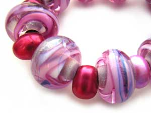 SOLD - Artisan Glass Lampwork Beads ~ Candy Ripple Set