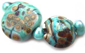 SOLD - Artisan Glass Lampwork Beads ~ Turquoise Dream ~ Ian Williams