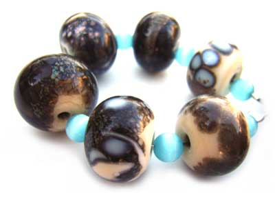 SOLD - Artisan Glass Lampwork Beads ~ Jasper Set