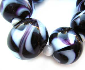 SOLD - Artisan Glass Lampwork Beads ~ Liquorice Swirl Set