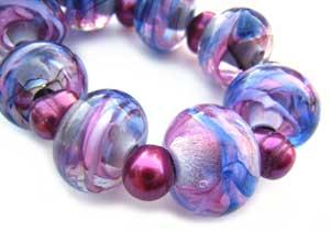 SOLD - Artisan Glass Lampwork Beads ~ Candy Mix Ripple Set