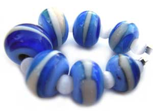 SOLD - Artisan Glass Lampwork Beads ~ Blue & White Swirl Set