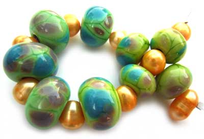 SOLD - Artisan Glass Lampwork Beads ~ Spring meadow