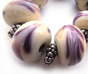 SOLD - Artisan Glass Lampwork Beads ~ Purple & Ivory Marble Set