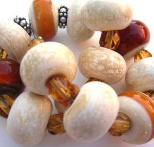 SOLD - Amber & Marble Set Artisan Glass Lampwork Beads ~ Ian Williams