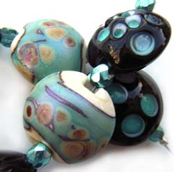 SOLD - Artisan Glass Lampwork Beads ~ Celeste Set
