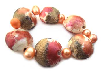 SOLD - Artisan Glass Lampwork Beads ~ Metallic Shimmer Set