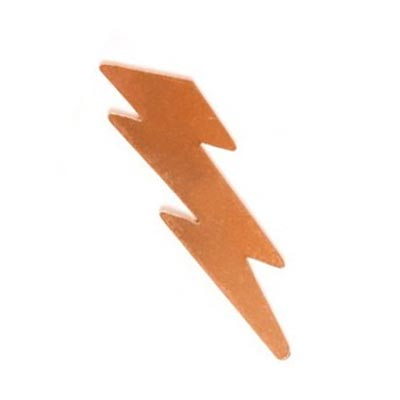 Copper Metal Stamping Blank, (2 inch) 49.3x14mm Lightning Bolt 24ga x1