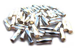 Sterling Silver 4x1mm Twisted Liquid Silver Tube Beads x1 gram (est 40)