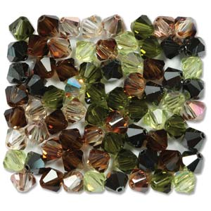 Preciosa Crystal Beads 6mm Bicone - Artistic Impression x10