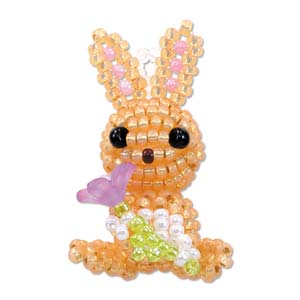 "Miyuki Seed Beads - Mascot Fan KIT no. 31 - ""Flora"" Rabbit Beaded Charm"