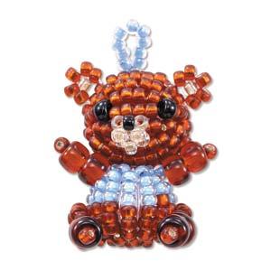 """Miyuki Seed Beads - Mascot Fan KIT no. 33 - """"Chako"""" Bear Beaded Charm"""