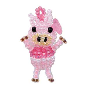 "Miyuki Seed Beads - Mascot Fan KIT no. 35 - ""Hana"" Pig Beaded Charm"