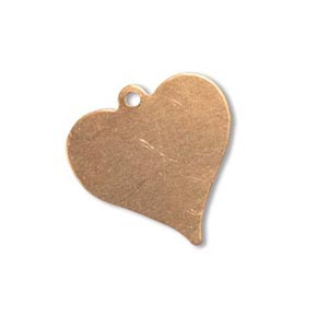 Copper Heart 18.1x17.6mm 24g Stamping Blank x1