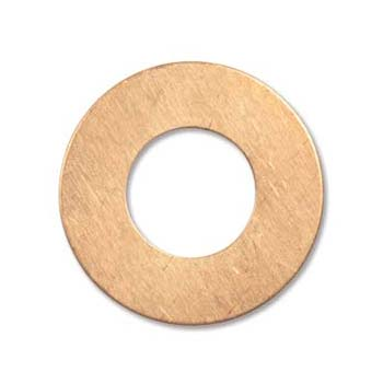 Copper Metal Stamping Blank, Washer 1 inch 25.5mm od 12.7mm id 24ga x1