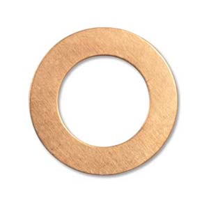 Copper Metal Stamping Blank, Washer 25.7mm od, 15.8mm id, 24ga x1