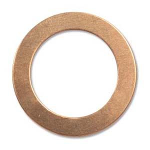 Copper Metal Stamping Blank, Washer 31.8mm od, 22.2mm id, 24ga x1