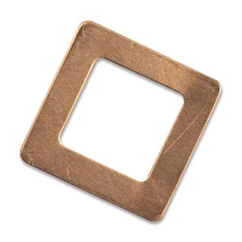 Copper Metal Stamping Blank, Square Washer 25.5mm 24ga x1