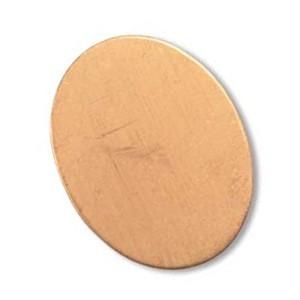Copper Metal Stamping Blank, Oval 21x15mm, 24ga x1