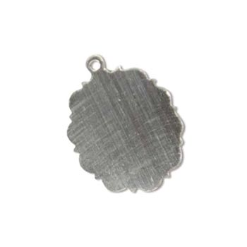 Sterling Silver Scalloped Oval 21.1x15.7mm 24g Stamping Blank Pendant x1