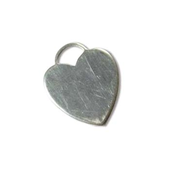 Sterling Silver Heart Lock Tag 18.5x15.5mm 19g Stamping Blank Charm x1