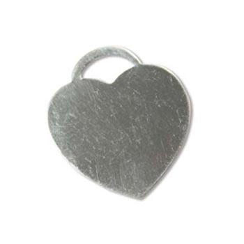 Sterling Silver Heart Lock Tag 24x21.5mm 20g Stamping Blank Charm x1