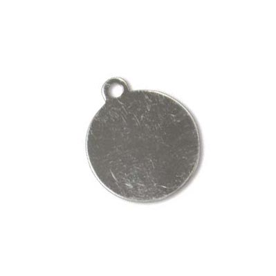 Sterling Silver Circle Tag 14.3mm 24g Stamping Blank Charm Tag with ring x1
