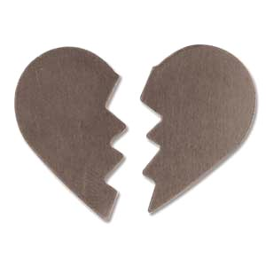 Sterling Silver Broken Heart 30x24.5mm 24g Stamping Blank x1