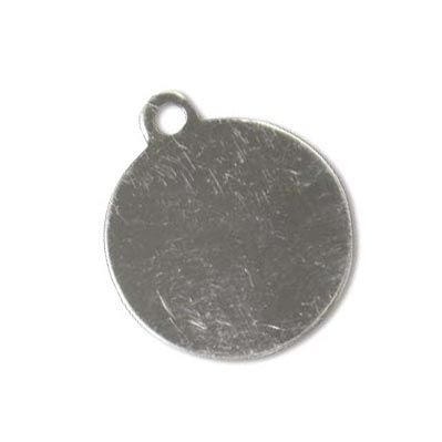Sterling Silver Circle Tag 19.4mm 24g Stamping Blank Pendant x1
