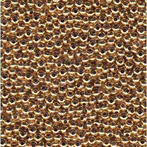 Solid Metal Seed Beads, 6/0, 4mm, 24kt Gold Plated, 30 grams