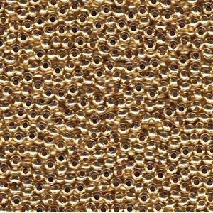 Solid Metal Seed Beads, 11/0, 2mm, Gilded Metal, 15 grams