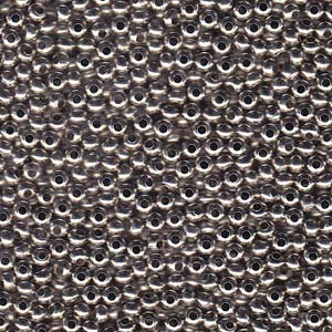 Solid Metal Seed Beads, 6/0, 4mm, Nickel Finish, 31 grams