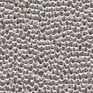 Solid Metal Seed Beads, 8/0, 3mm, Silver Plated, 39 grams