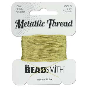 Beadsmith - Metallic Thread 2 Ply 25yds Gold
