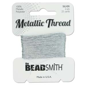 Beadsmith - Metallic Thread 2 Ply 25yds Silver