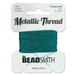 Beadsmith - Metallic Thread 2 Ply 25yds Turquoise