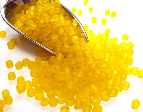Glass Seed Beads 11/0 - 2mm Frosted Yellow 50g