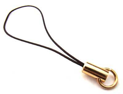 Mobile Cell Phone Charm Cords - Black - Gold Plated with Jump Ring x2